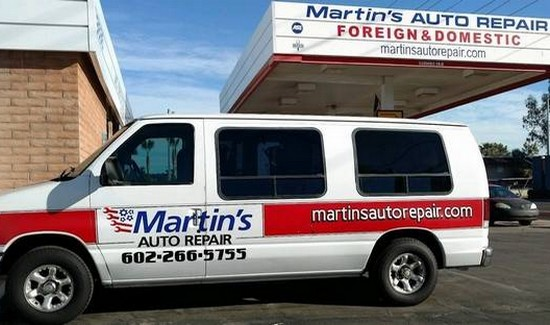 Martins Auto van outside the business